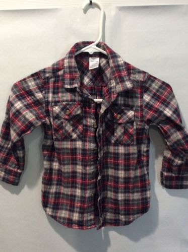 GYMBOREE boys red/blue/grey flannel shirt size 3-4