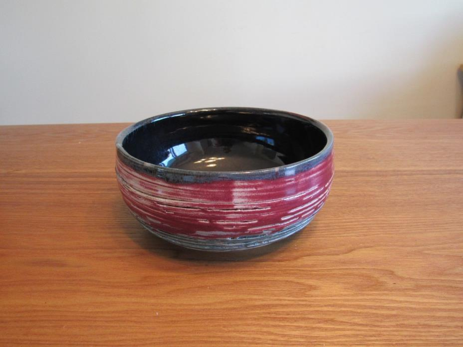 Beautiful Handmade Pottery Bowl; Earth Tones Blue/Green/Red; Signed