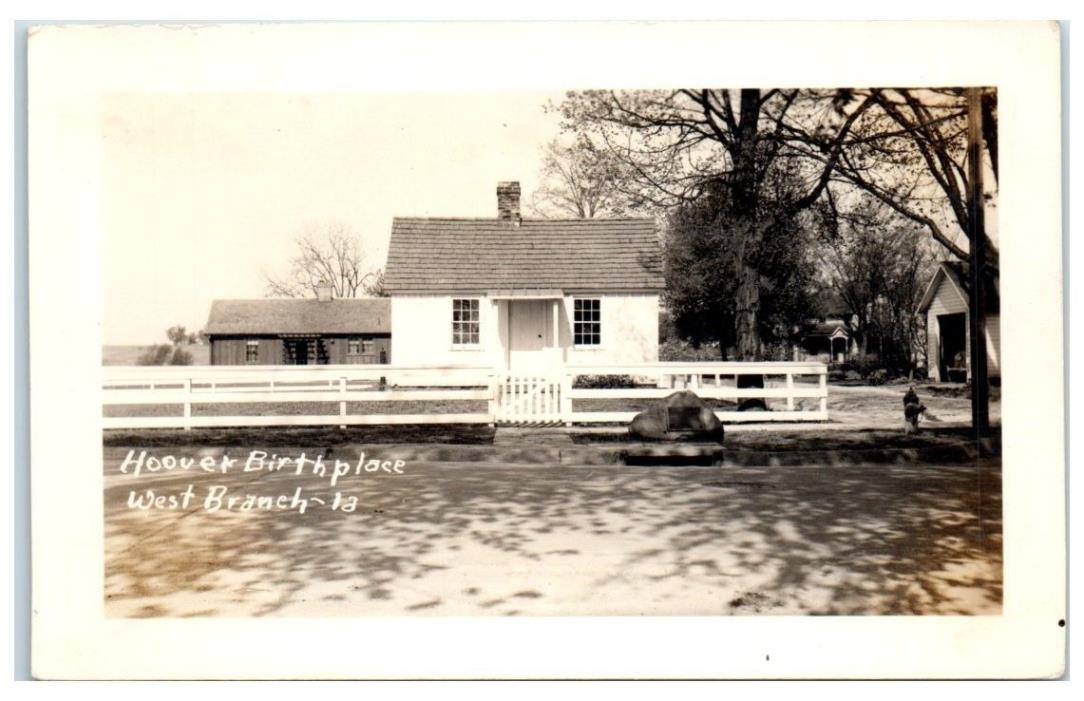Vintage Herbert Hoover's Birthplace, West Branch, IA RPPC Real Photo Postcard