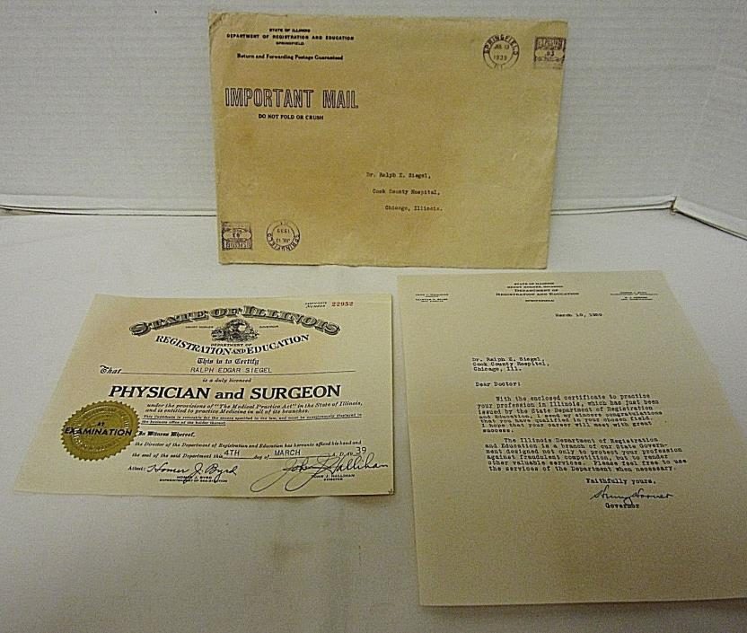 Vtg 1939 State of Illinois MD Physician & Surgeon License w/ Governor Letter