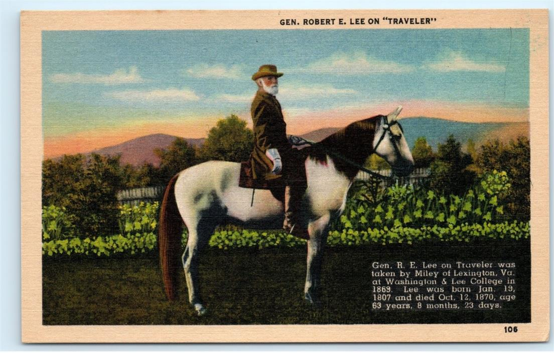 *General Robert E. Lee on Traveler Horse Vintage Linen Postcard B89