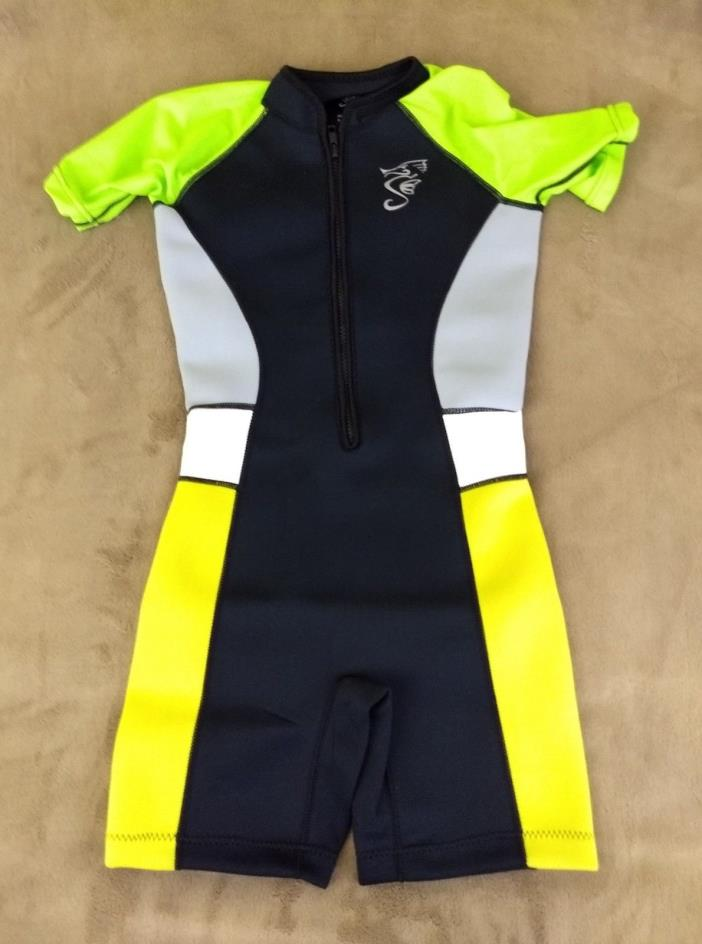 Seavenger Kids 2mm UV Protective Thermal Swim Suits Shorty Yellow Green 9/10