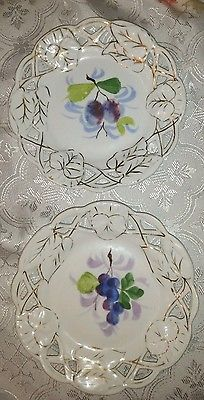 2 Openwork Plates Handpainted Grapes & Gold Accents. Reticulated Ceramic