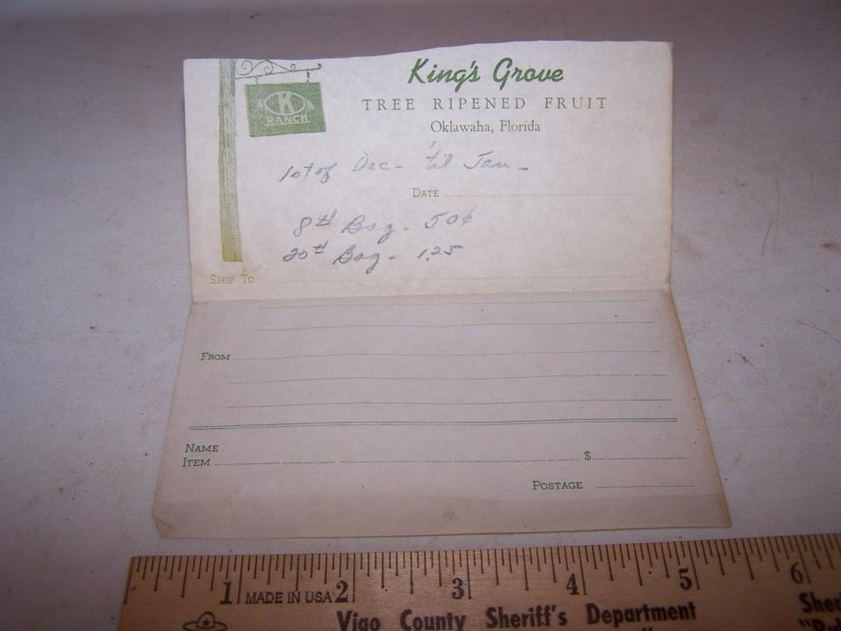 Vintage K RANCH KING'S GROVE Invoice OKLAWAHA FLORIDA