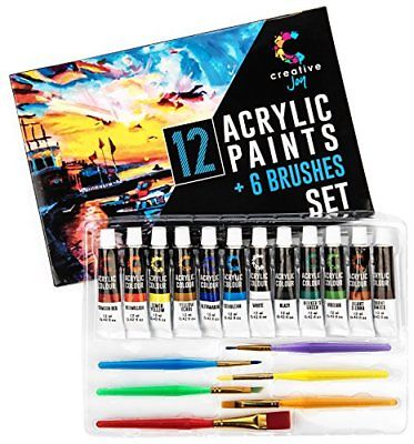 Acrylic Paint Set & Brushes with Rich Pigments in 12 Vivid Colors 6 Starter Is