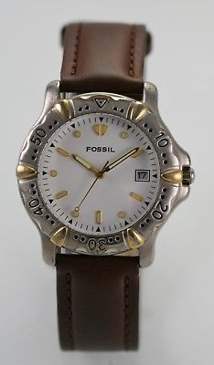 Fossil Watch Mens White Brown Leather Stainless Gold Silver 30m Date Quartz