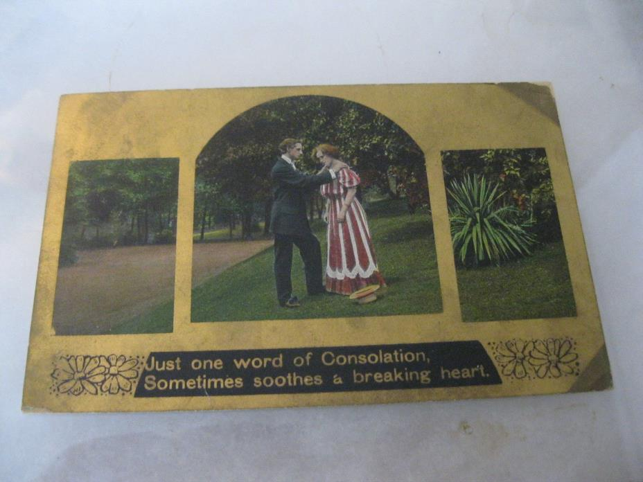Just one word of consolation sometimes soothes breaking heart Postcard 1909