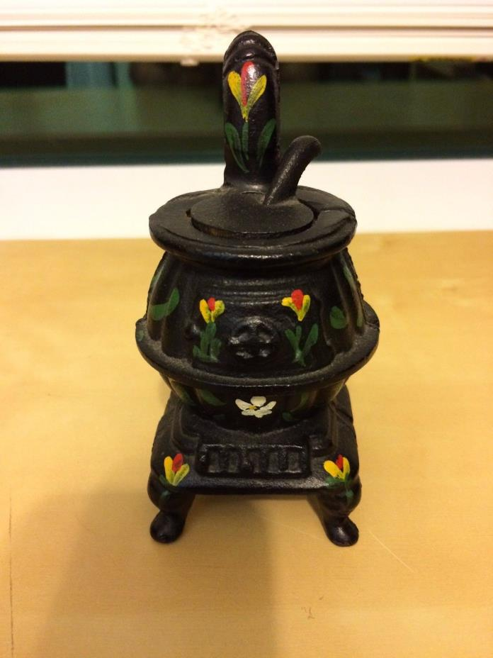 Vtg Salesman Sample Toy CAST IRON Dollhouse POT BELLY STOVE  5