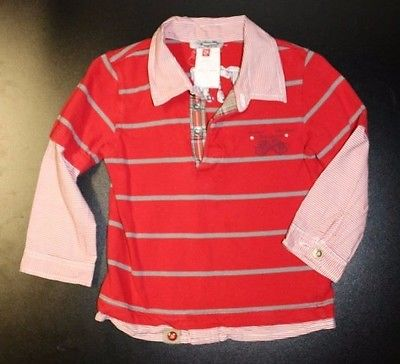 Boys Red Striped Catimini Spirit 2Fer Knit Shirt Size 2a or 86 2T EUC!!