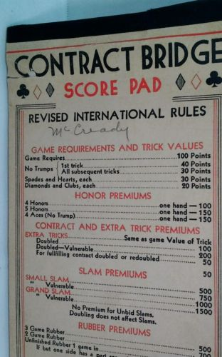 Vintage Contract Bridge Score Pad Revised International Rules, 4