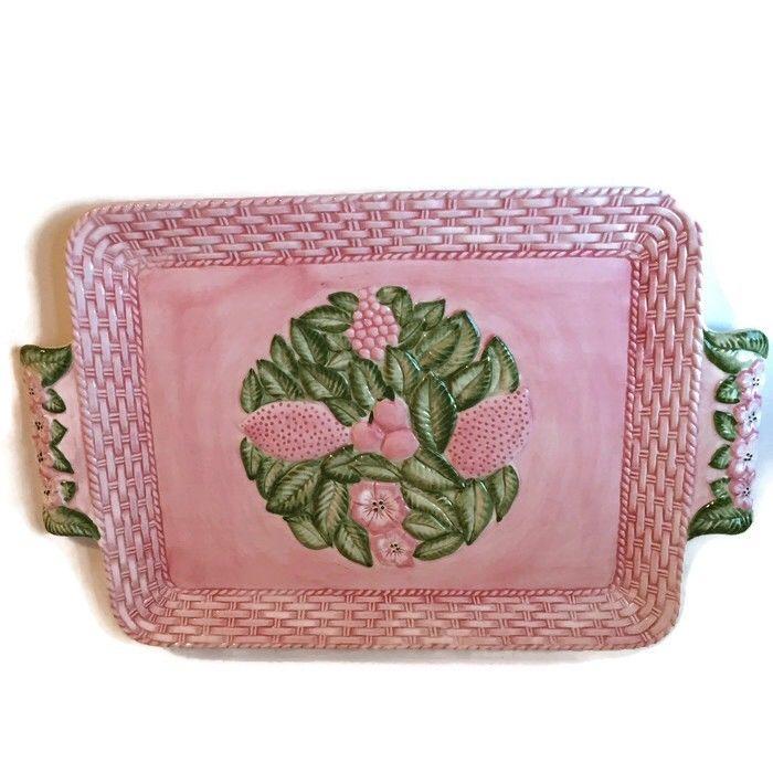 Frutta Fresca Pink Platter Seymour Mann Handpainted Raised Flowers Basket Design