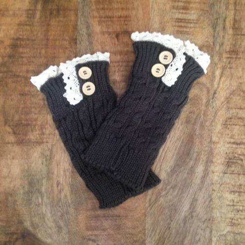 Black Buttons And Lace Boot Cuffs NWT
