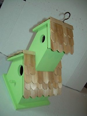 BIRDHOUSE ALL WOOD BIRD HOUSE GREEN WITH WOOD SHAKE SHINGLES FREE SHIPPING NEW