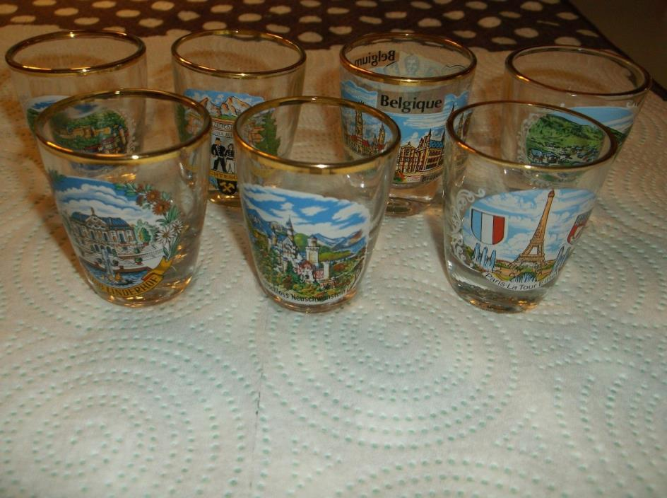 LOT OF 7 COLORFUL EUROPEAN SOUVENIR SHOT GLASSES - GERMANY, FRANCE, ETC