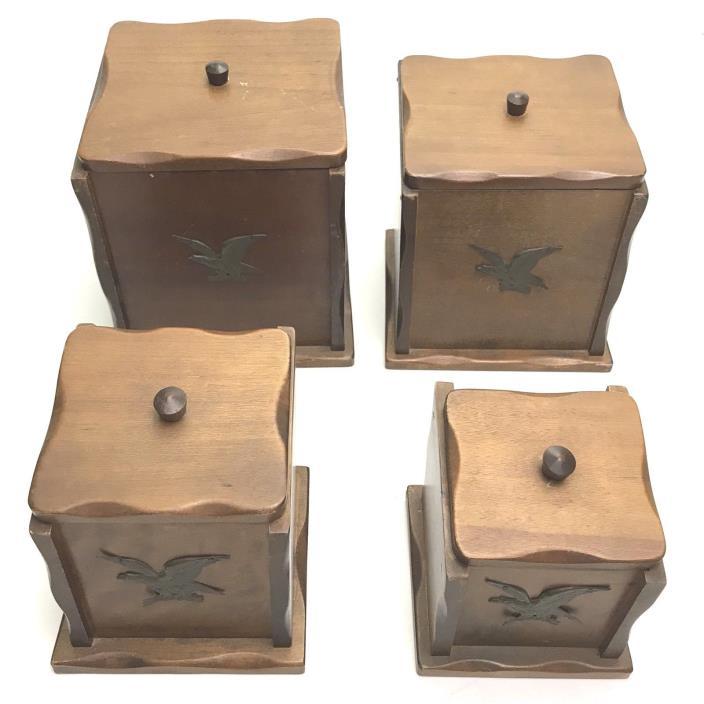 Vtg 4 Nesting 60's Wood Box Card Cookie Sugar Flour Jar Holder Brass Eagle Japan