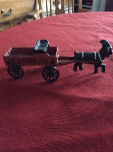 Rare Vintage Cast Iron Express Wagon W/Goat