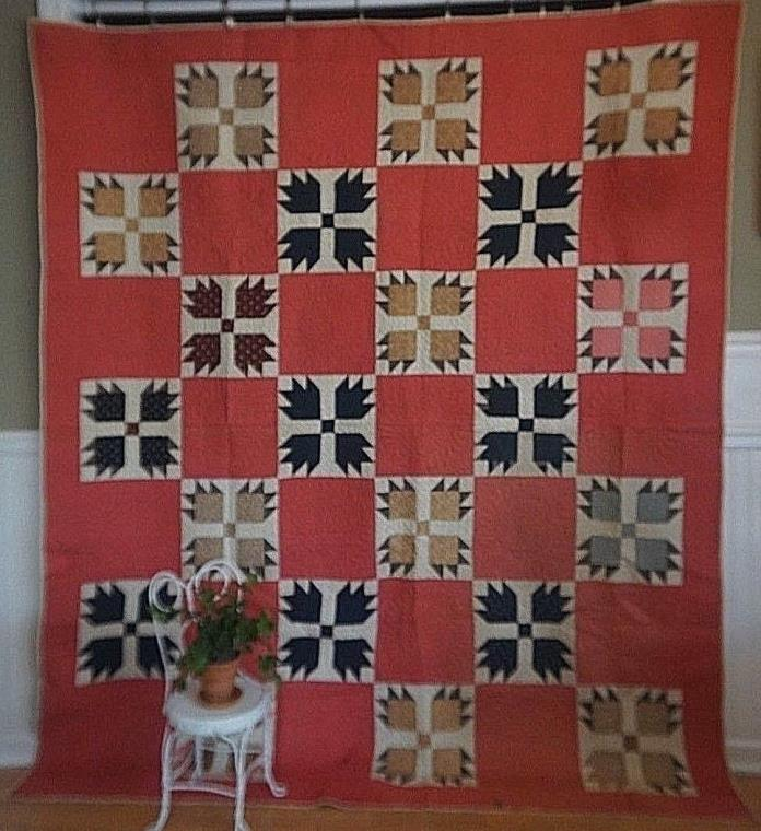 Indiana-Quilts 1880s Unused and Unwashed Bear Claw Quilt Expert Quilting