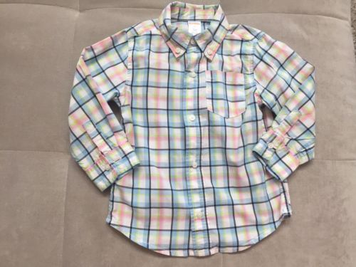 Gymboree Boys Dress Shirt Size 2 Toddler Blue Pink White