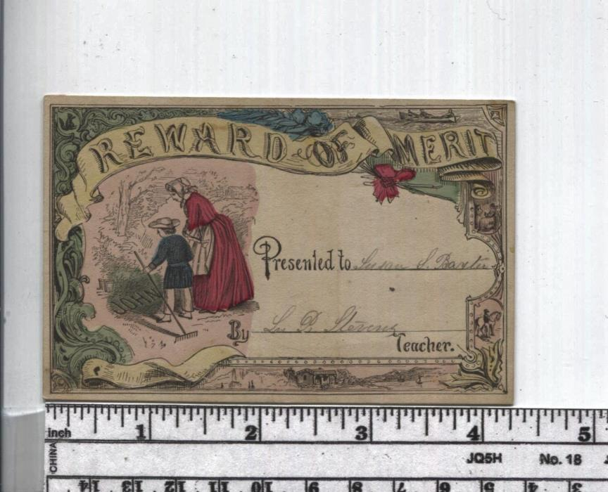 Antique Reward of Merit - Hand Colored - Boy with Rake