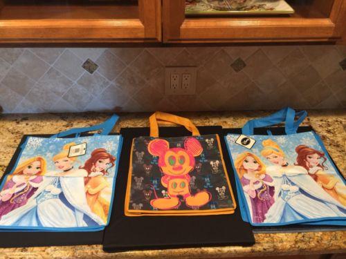Disney Reusable tote bags / Lot of 3 Mickey & Cinderella