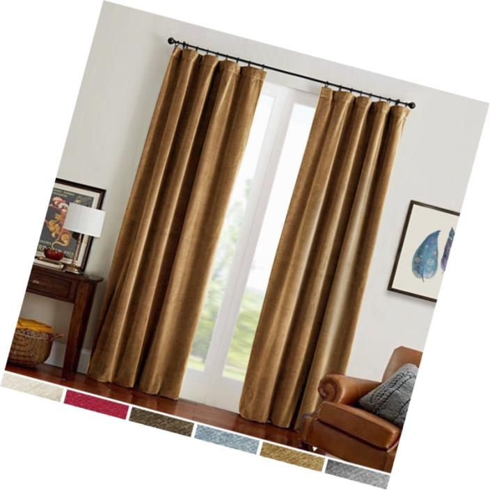 Room Darkening Velvet Curtains 84 Gold Brown Window Drapes for Bedroom Curtain