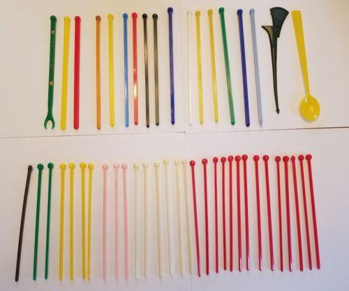 Vintage 48 Piece Swizzle Stick Lot - All Plastic '60's