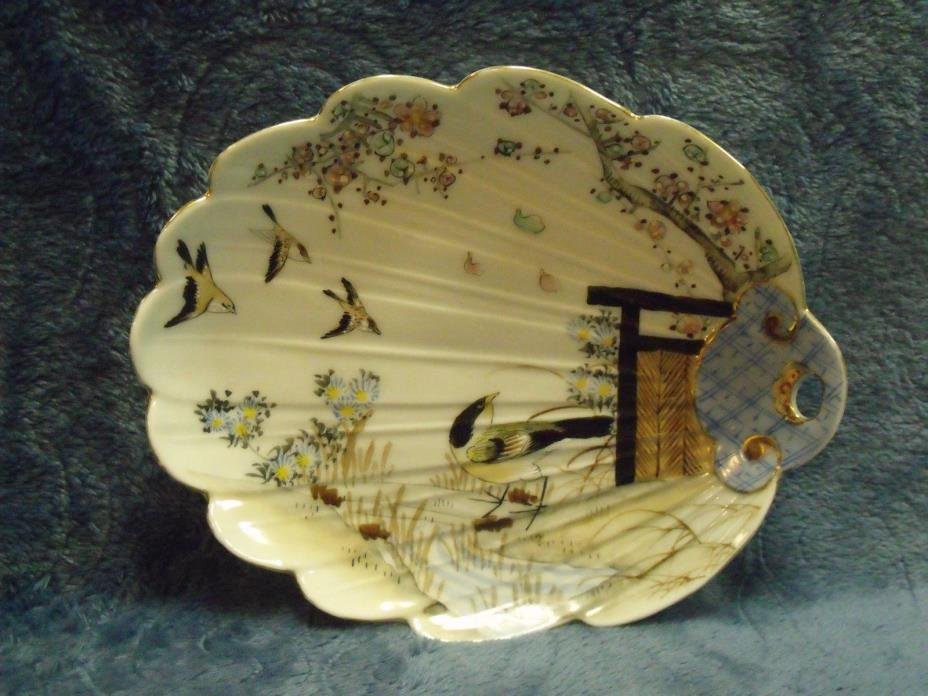 Antique~ Hand Painted ~Scalloped Shaped ~ Candy/Condiment Dish ~ Birds~ Blossoms
