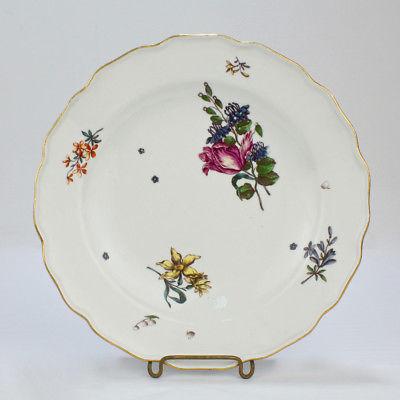 Antique 18C Meissen Porcelain Plate Deutsche Blumen Floral Sprays Flowers - PC