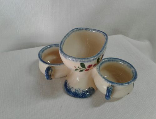 French Porcelain Open Salt Pepper Condiment handled.