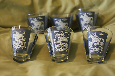 MID-CENTURY SHOT GLASS SET OF 6 HUNTING SCENE BLUE