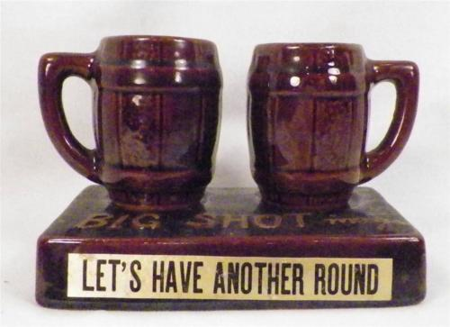 Vintage Big Shot Mugs Lets Have Another Round Pottery Shot Glasses Barware