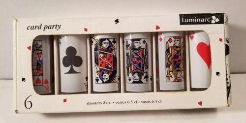 Luminarc Set of 6 Card Party Shooters Shot Glasses Bar Glassware Poker 2 oz NIB