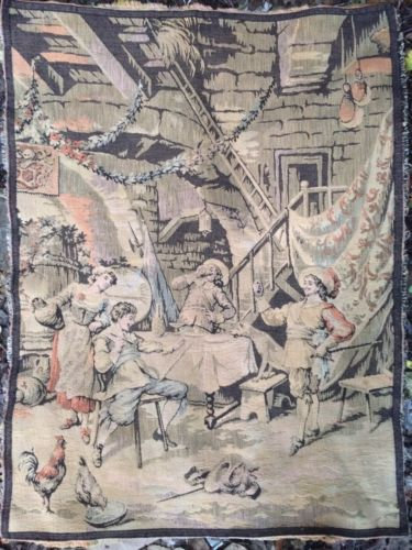 Antique Old Tapestry Musketeers Drinking Scene 24