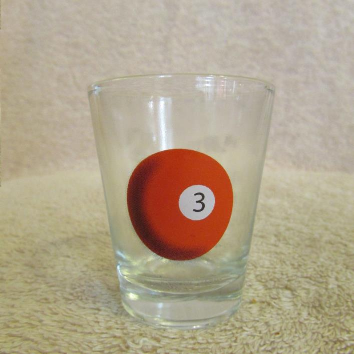 Billiard Pool # 3 Ball Shot Glass CLEAR GLASS