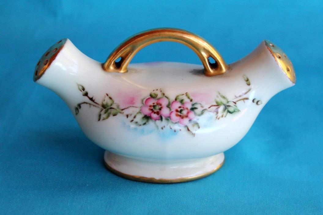 Germany Salt Pepper Shakers 2 in 1 Porcelain Pink Flowers Signed Vintage Antique