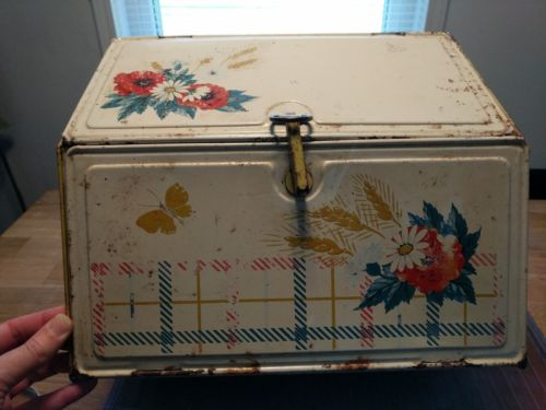 Vintage Bread Box Pie Safe Metal Tin Flowers