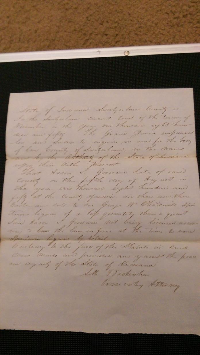 1850 VEVAY INDIANA SWITZERLAND COUNTY VS AARON GOODWIN FOR ILLEGAL LIQUOR SALE 2