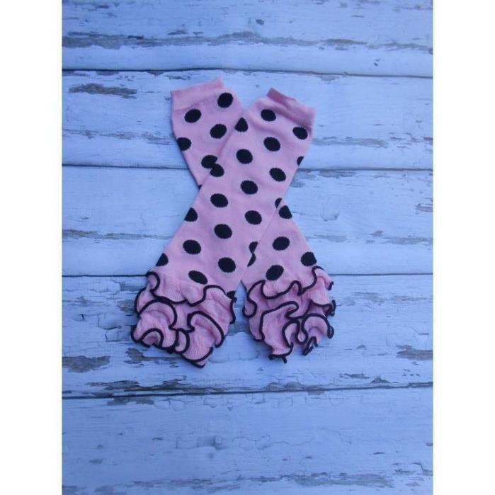 Pink and black dot Minnie mouse ruffled Baby Toddler girls Leg Warmers