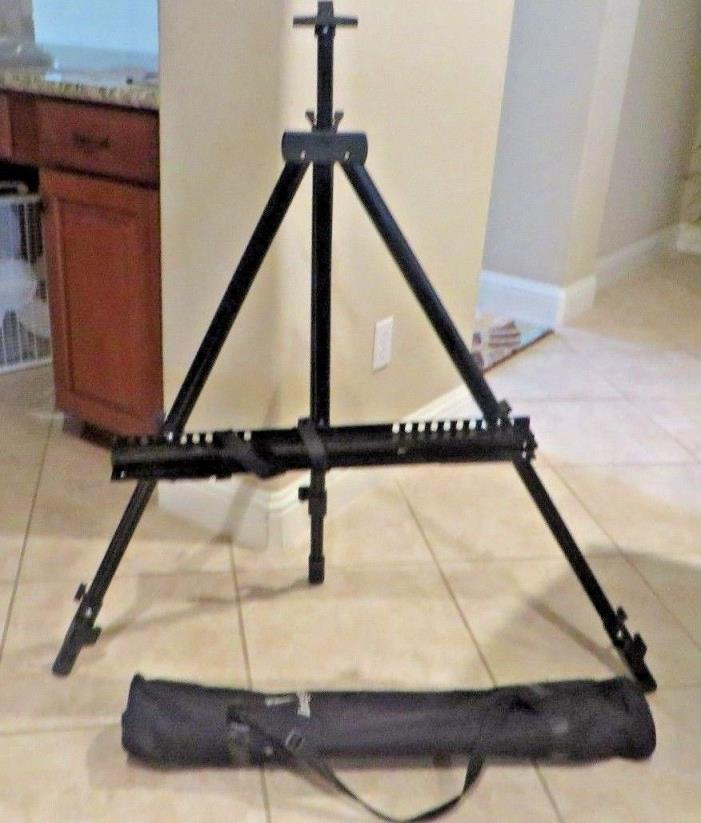 EUC Integra Black Metal Tripod Field Easel and Sling Canvas Zippered Case