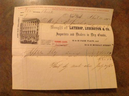 1862 Civil War Era Lathrop, Ludington & Co. Dry Goods Invoice Bill New York