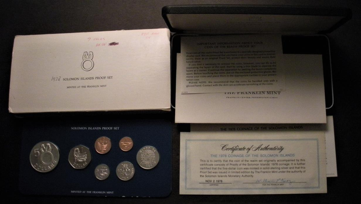 1978 Solomon Islands 7-Coin Proof Set incl Silver $5 coin - w/ Case  & COA