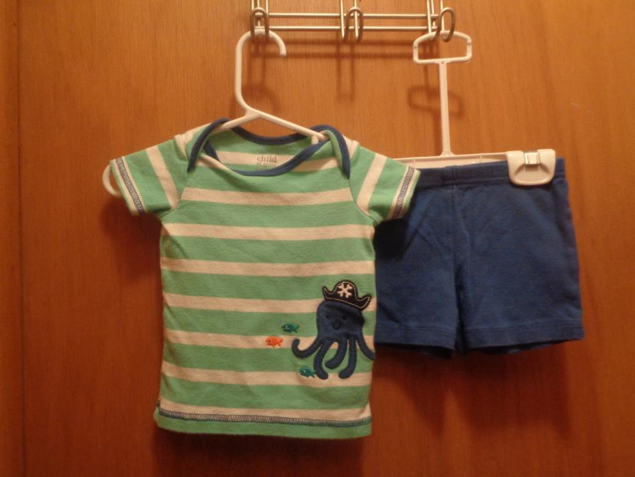 Child of Mine Baby Boys Green White Striped Octopus Shirt Shorts Size 3-6 months