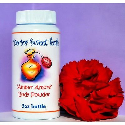 AMBER AMORE Handmade Scented Body Dusting Powder TALC FREE 3oz