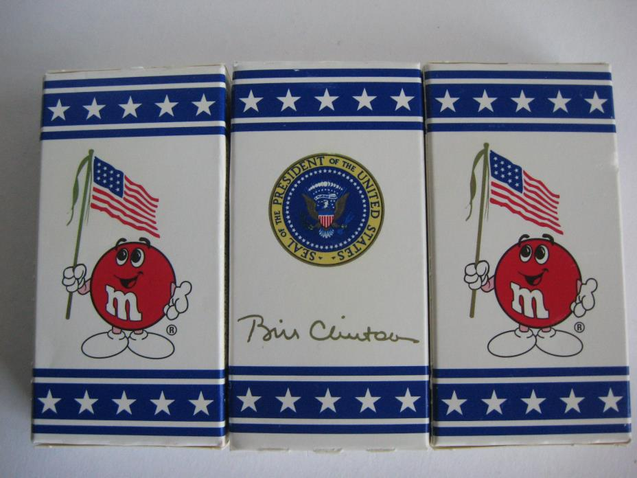 3 SEALED PRISTINE PRESIDENTIAL M&Ms BOXES BILL CLINTON SIGNATURE COLLECTION