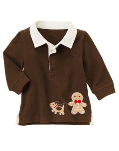NWT Gymboree polo shirt Gingerbread man with dog s 0-3 months