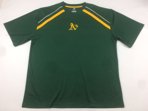 OAKLAND A'S JERSEY SHIRT MLB LOGO GREEN & YELLOW MEN'S - SIZE EXTRA LARGE (XL)