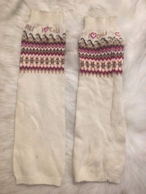 Hollister Fair Isle Snowflake Nordic Heavy Thick Knit Leg Warmers One Size