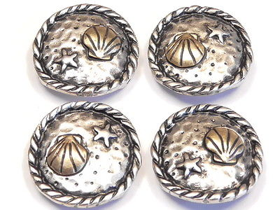 4 - 2 HOLE SLIDER BEADS ANTIQUED SILVER & BRASS STARFISH & SEA SHELL BEACH BEAD