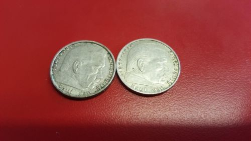 Lot of 2 1938 B 2 mark German WWII Silver Coin Third Reich Reichsmark