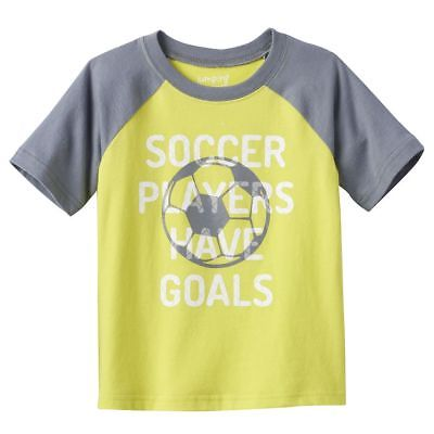 Boys 4T Gray Green T-Shirt NWT SOCCER PLAYERS GOALS Short Sleeve Jumping Beans